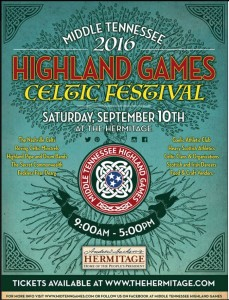 The Highland Games and Celtic Festival is getting ready for the second annual gathering at The Hermitage Plantation in Nashville, Tennessee on Saturday September 10, 2016 from 9:00 AM - 5:00 PM. There will be plenty of music, dancing, exhibitions, games, competitions, as well as food & craft vendors.